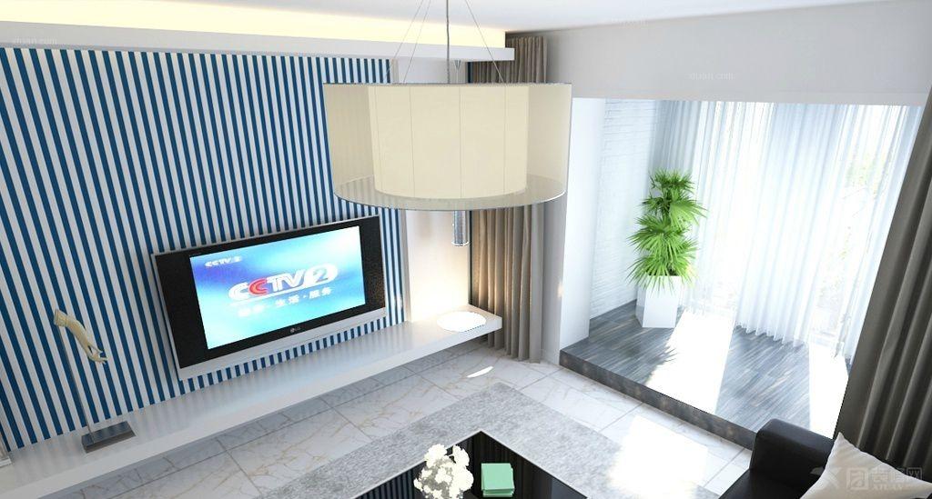 两居室中式风格客厅电视背景墙