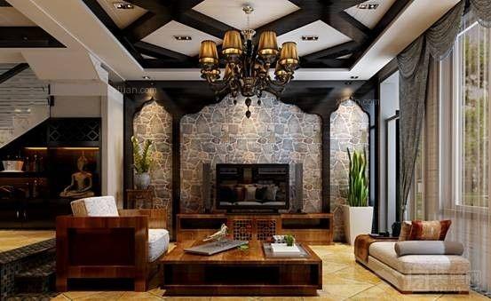 别墅地中海风格客厅圆形吊顶