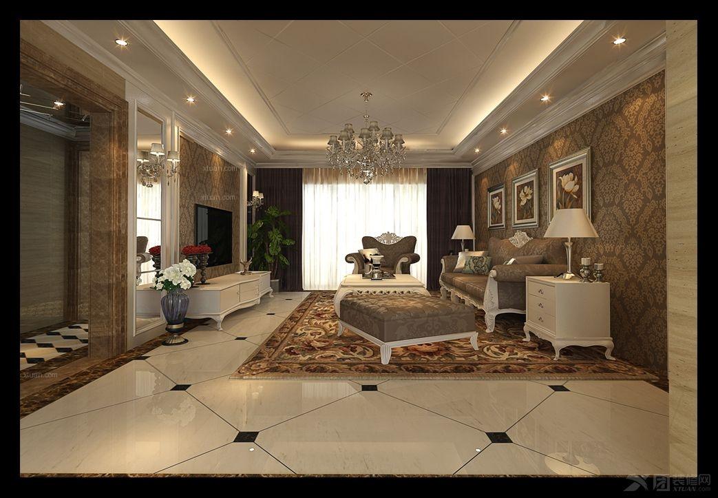 四居室欧式风格客厅电视背景墙_和信广场设计案例装修图片
