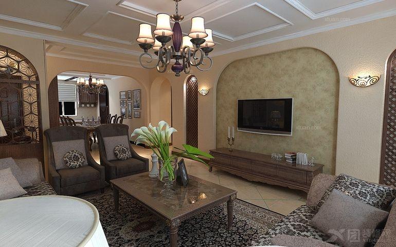盘锦晋级装饰漫步中海城三居室200平美式地中海装修设计图片