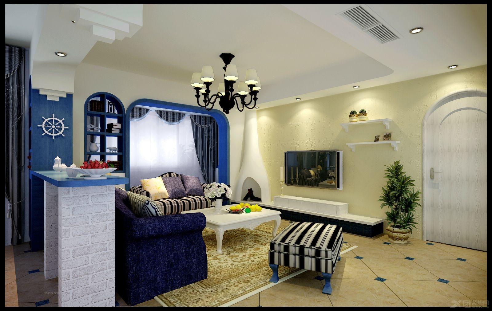 三室两厅地中海风格客厅影视墙