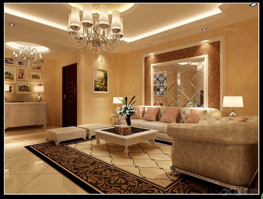 三室两厅欧式风格客厅沙发背景墙