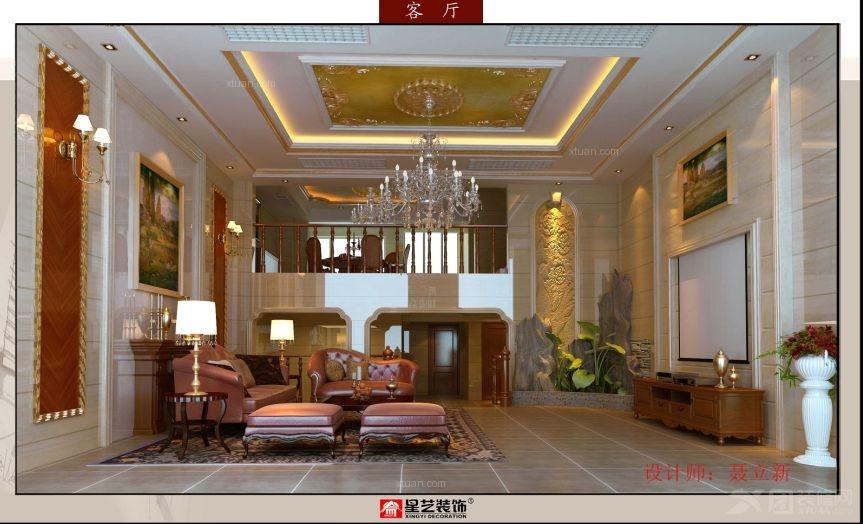 别墅韩式风格客厅_锦绣江南某别墅装修效果图-x团装修图片