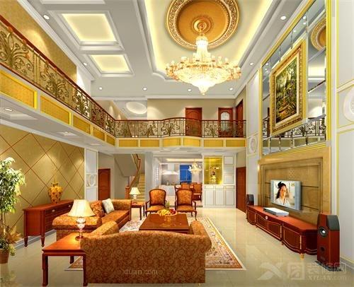 复式楼欧式风格客厅电视背景墙_海湾花园装修效果图