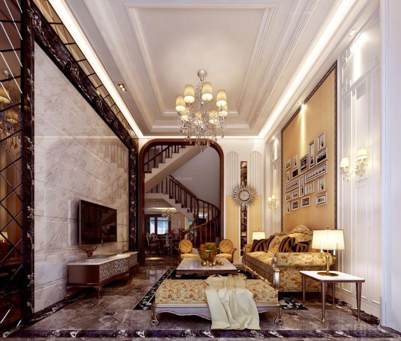 别墅欧式风格客厅沙发背景墙