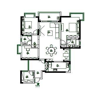 三室两厅现代简约餐厅_合肥华地学府名都小区140平图