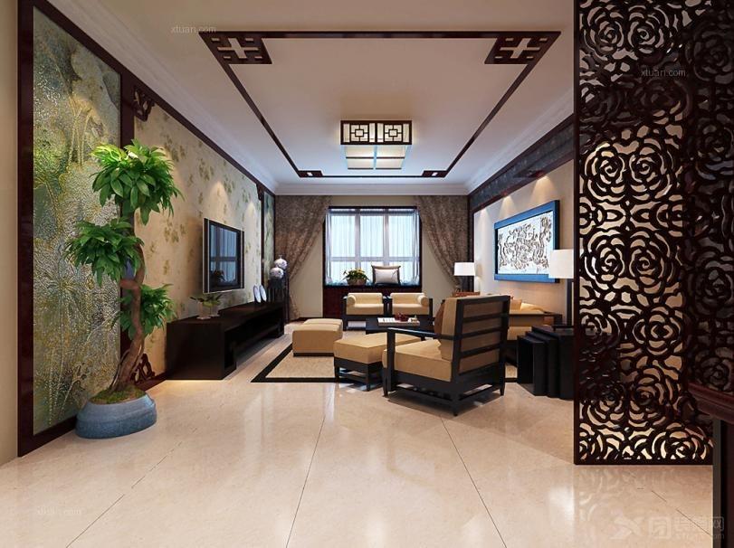 三室两厅中式风格客厅隔断_帝都国际城装修效果图-x团图片