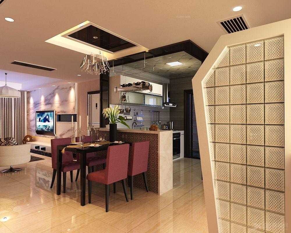 三室两厅波普风格餐厅开放式厨房图片