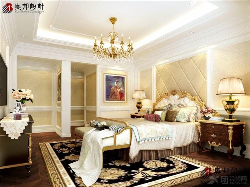 独栋别墅欧式风格卧室卧室背景墙