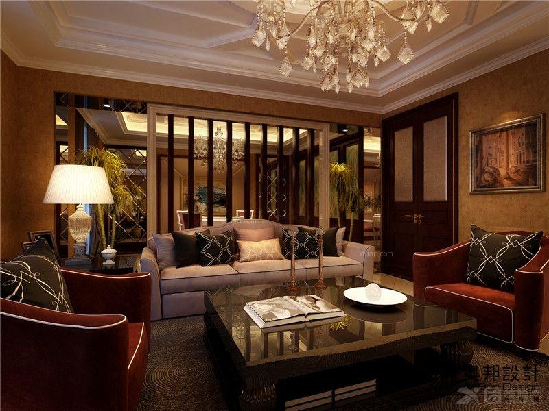 别墅洛可可风格客厅电视背景墙