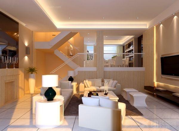 别墅现代风格客厅隔断