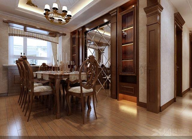 烟台实创装饰-上海滩花园140平米中式古典风格装修效果图