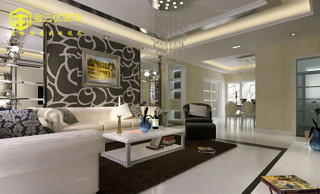 北京风景三居室130平米现代简约风格