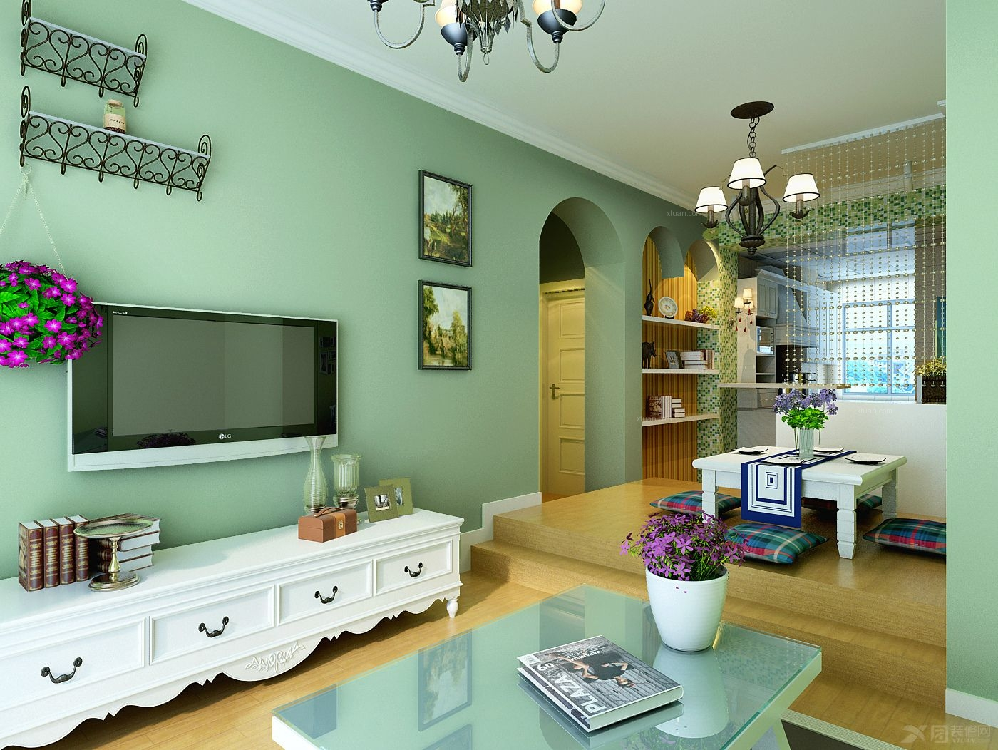 两居室田园风格客厅电视背景墙_森林小镇装修效果图-x