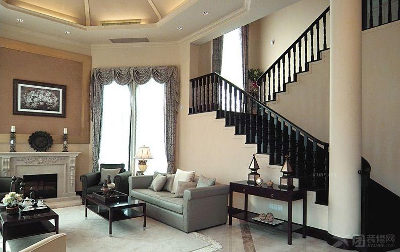 跃层现代风格客厅_成都房屋装修效果图-x团装修网
