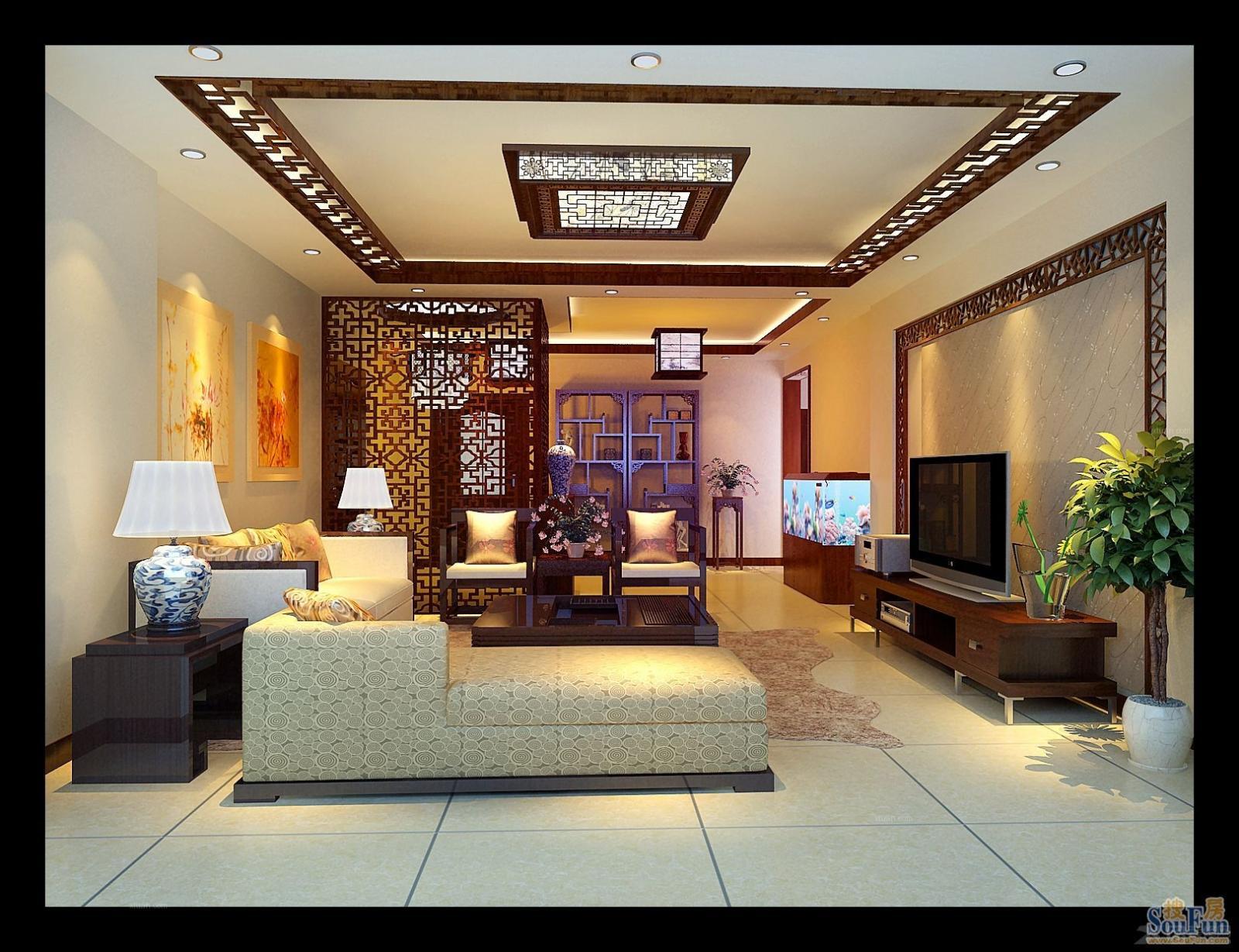 两居室中式风格客厅软装
