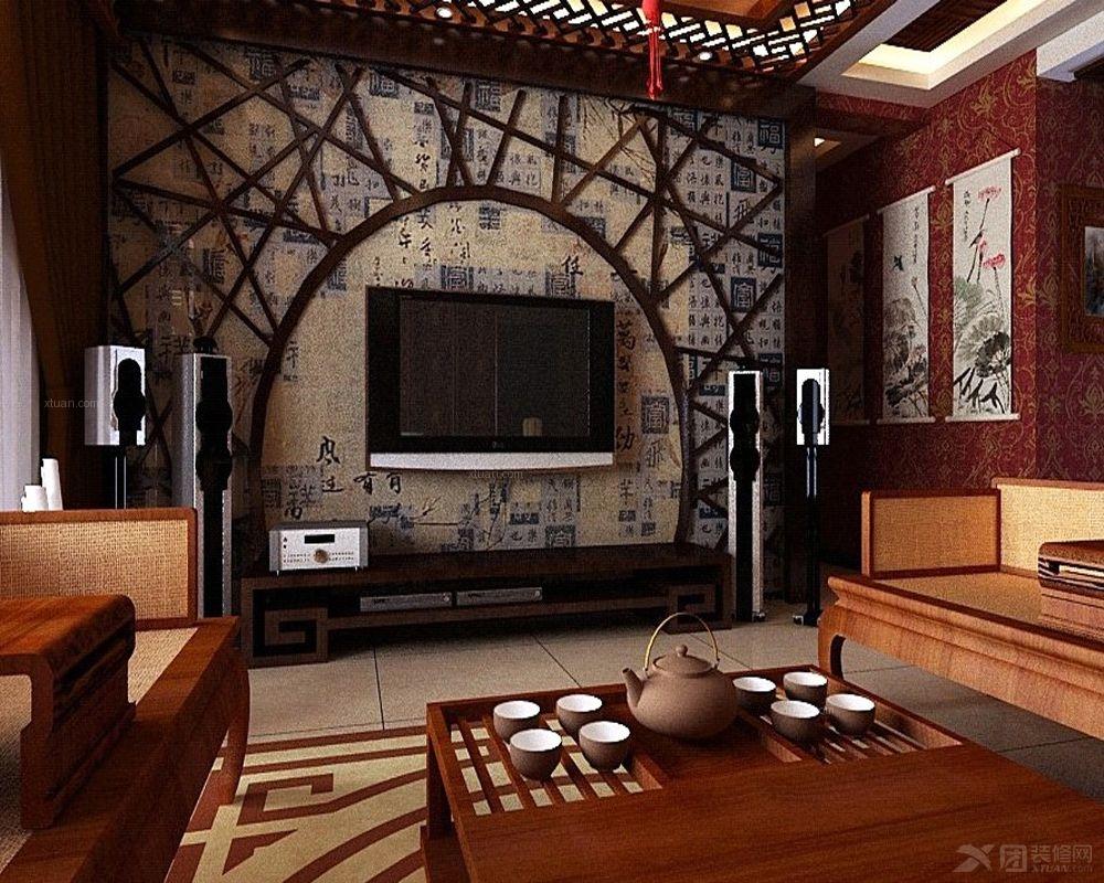 中式风格客厅电视背景墙
