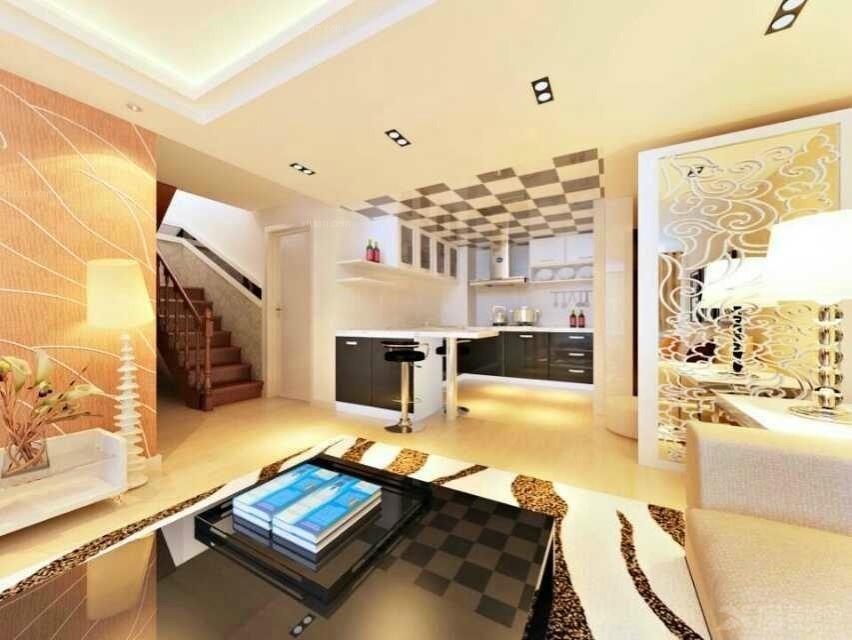 复式楼欧式风格客厅开放式厨房