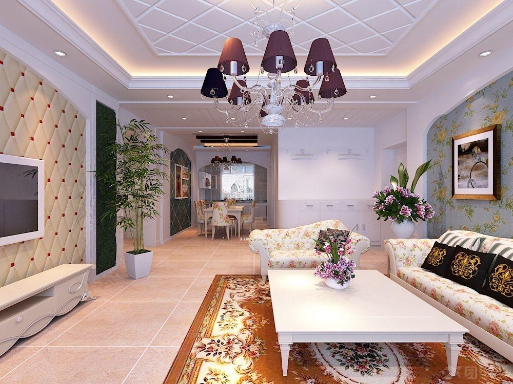 两居室田园风格客厅图片