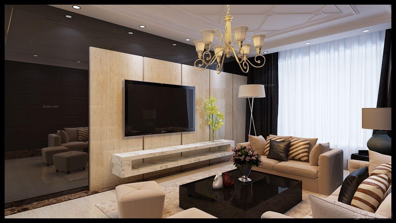 两室两厅简欧风格客厅电视背景墙图片