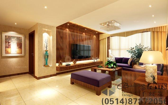 两室一厅客厅电视背景墙_港式装修效果图-x团装修网图片