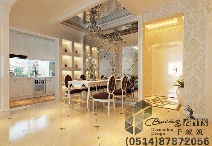 两室一厅简欧风格餐厅开放式厨房_骏和玲珑湾装修效果图片