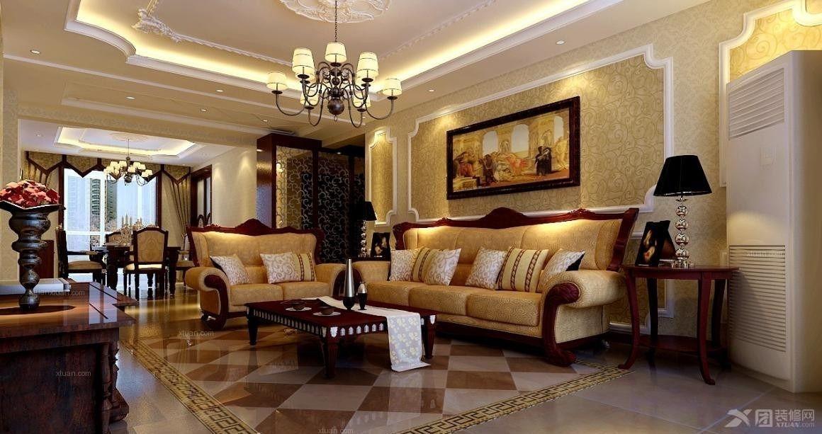 两室两厅欧式风格_椰岛广场装修效果图-x团装修网