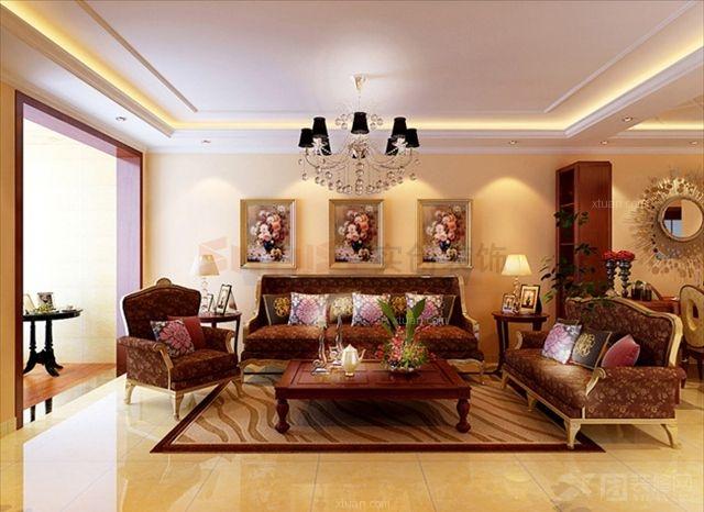 两室两厅简欧风格客厅沙发背景墙_90平米欧式风格装修