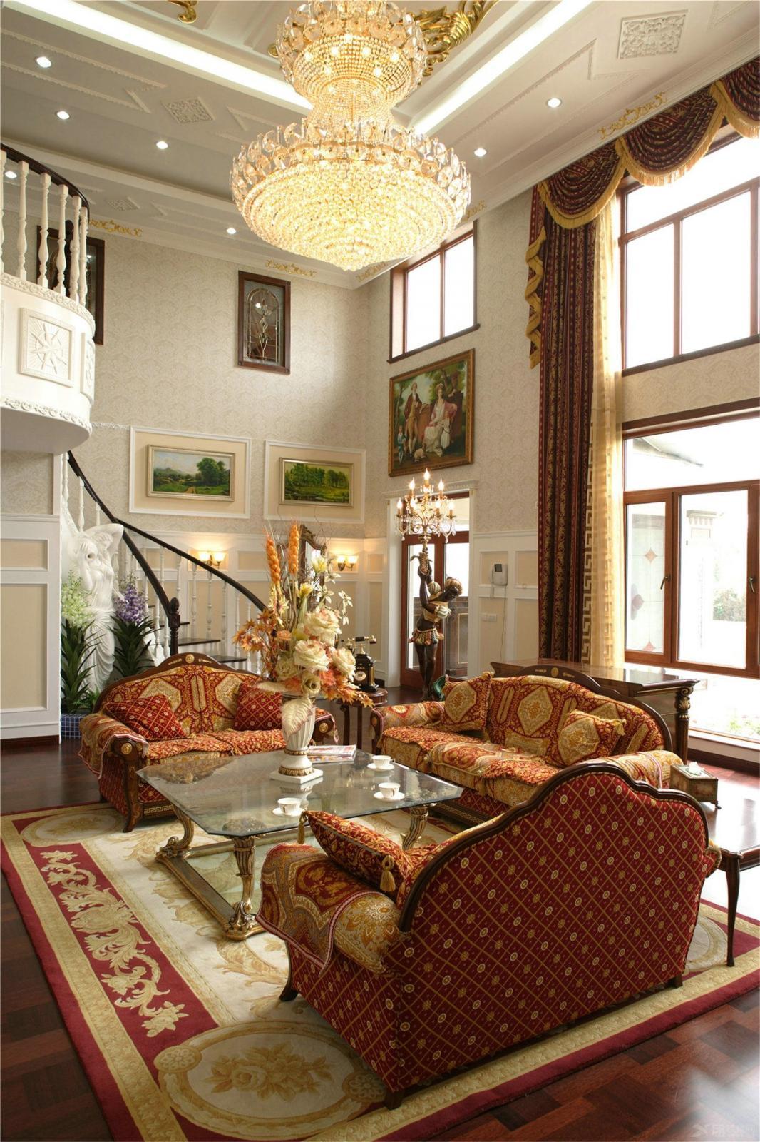 别墅美式风格客厅_200平5房别墅美式清新设计装修效果