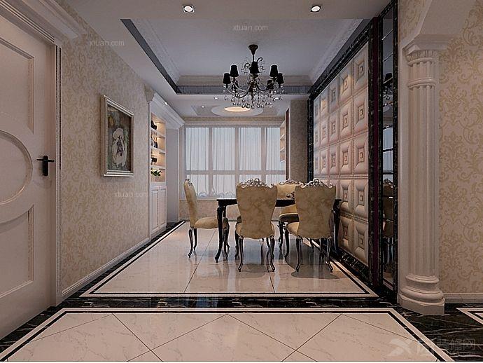 三室两厅简欧风格餐厅软装_泉舜财富中心装修效果图图片