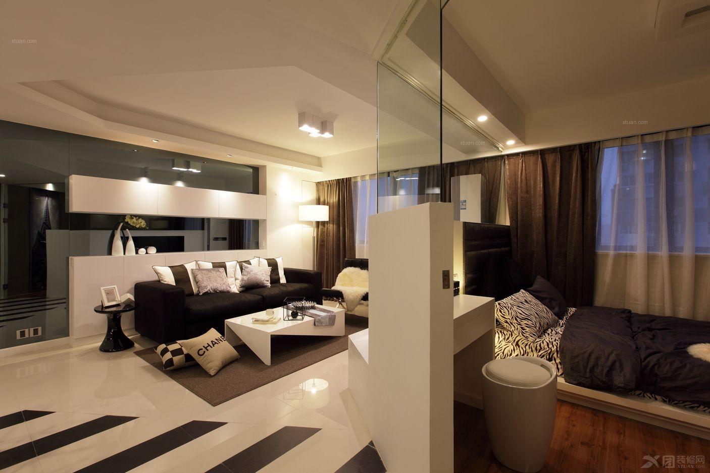 可以看到我们的客厅和透明卧室 75平米小户型两居婚房 透明高清图片