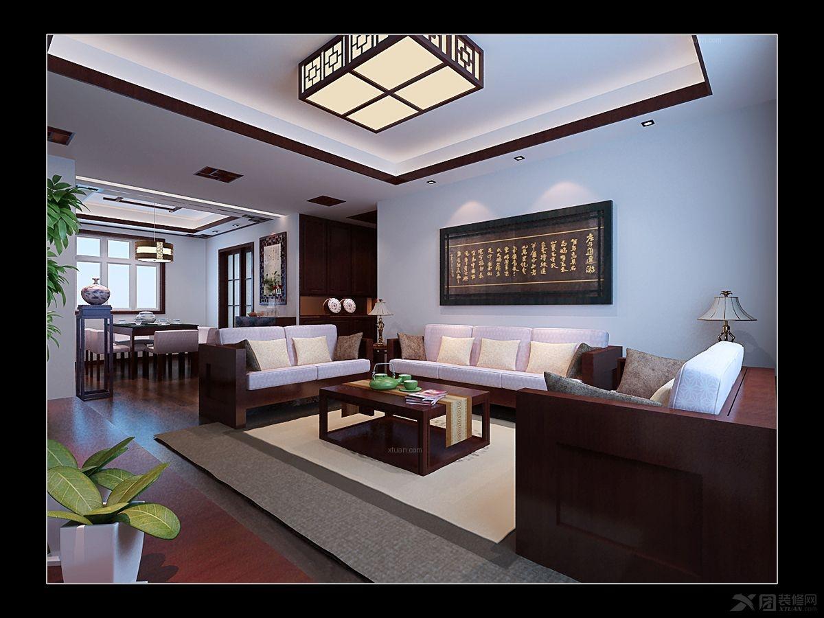 三室两厅中式风格客厅电视背景墙_资金风景线装修效果