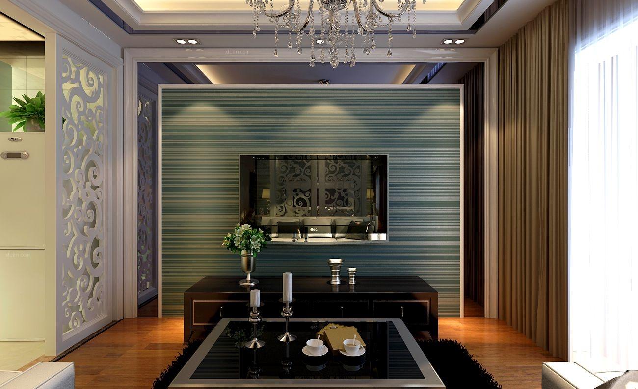 单身公寓现代简约客厅电视背景墙图片