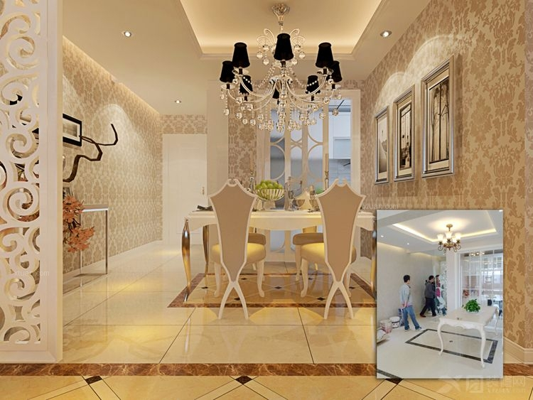两室一厅简欧风格过道客厅隔断
