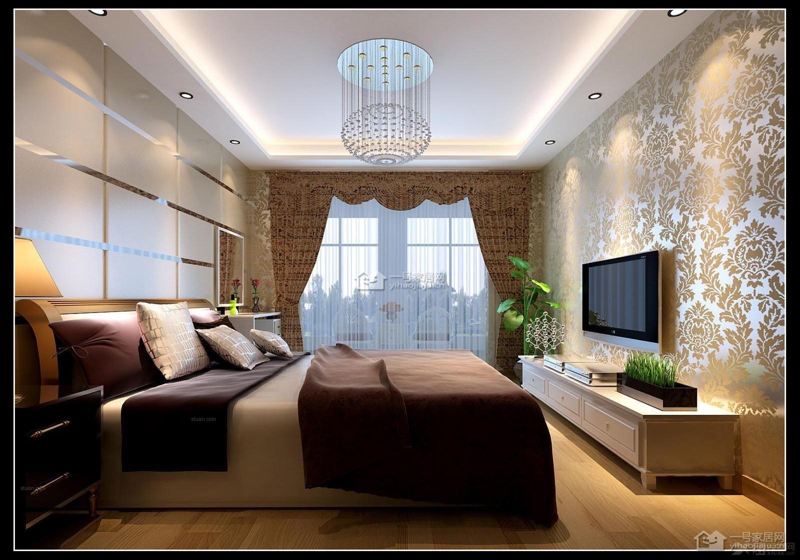 四居室美式风格主卧室电视背景墙图片