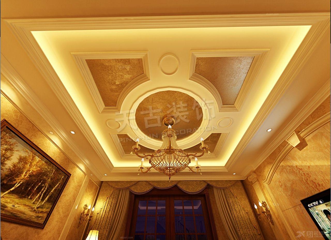 别墅新古典客厅圆形吊顶