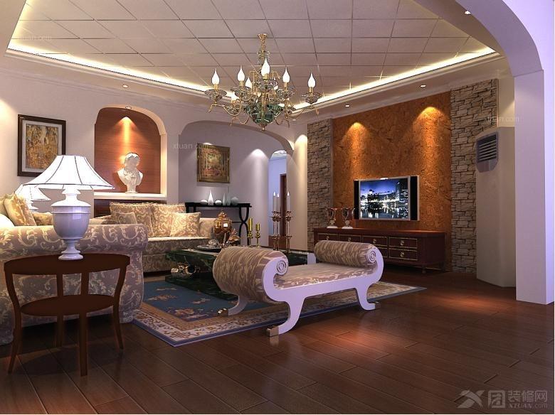 四居室欧式风格客厅_城投瀚城/大户型古朴欧式装修图
