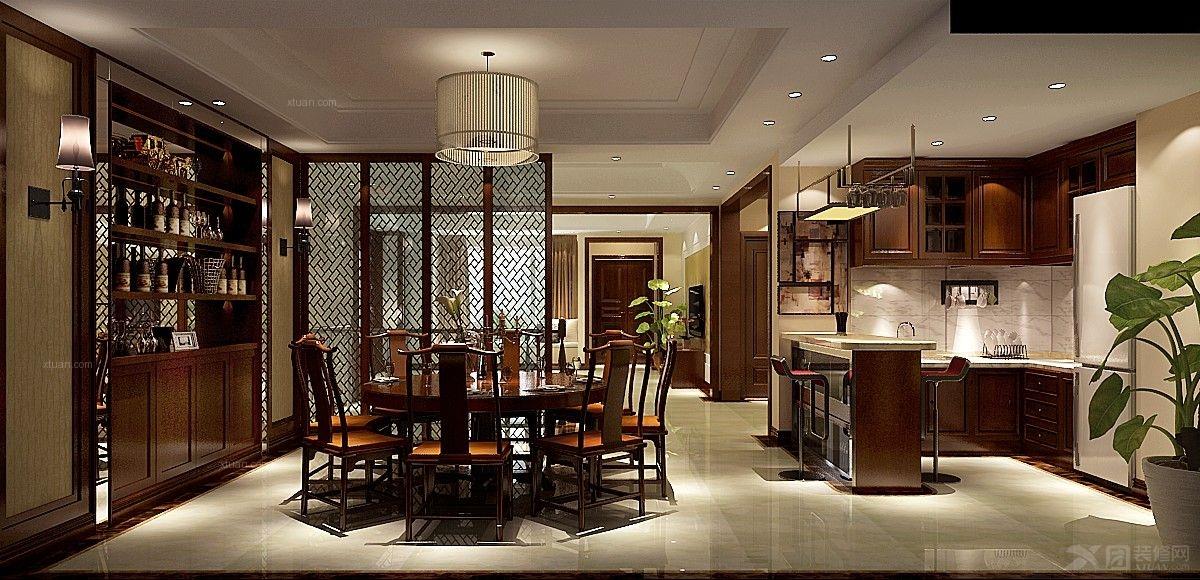 别墅中式风格餐厅_8哩岛5-2-101装修效果图-x团装修网