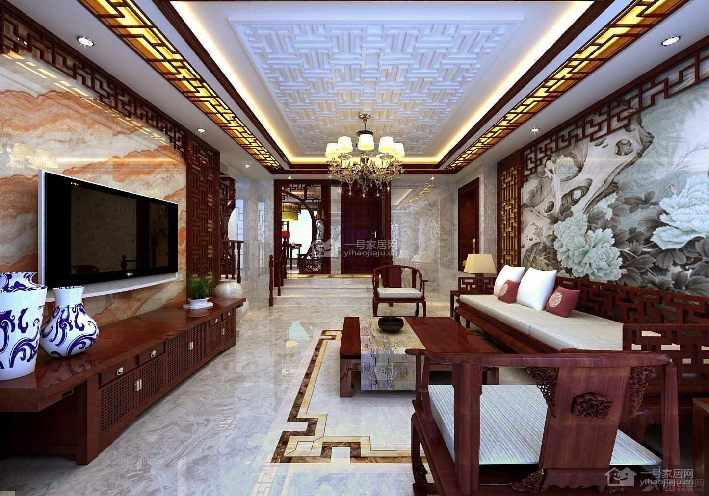 跃层中式风格客厅电视背景墙_和昌运河东郡电视背景墙