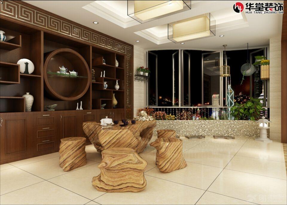 三室两厅中式风格主卧室_悦港花园装修效果图-x团装修图片