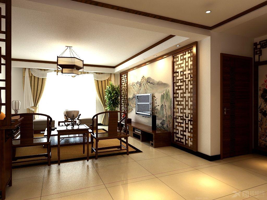 三室两厅中式风格客厅电视背景墙图片