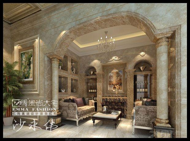 海景别墅客厅照片墙