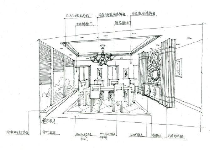 王先生雅居设计手稿装修效果图