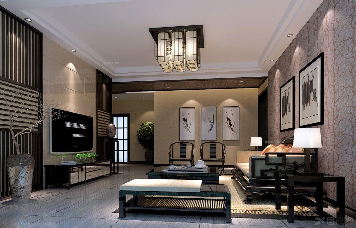 三室两厅东南亚风格客厅影视墙