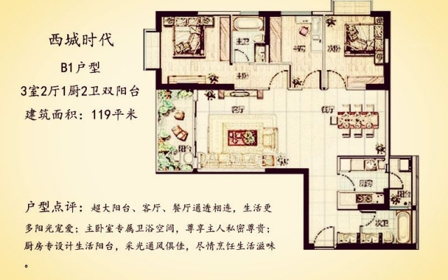 五华区西城时代119平方米简欧风格B1户型8.5万元