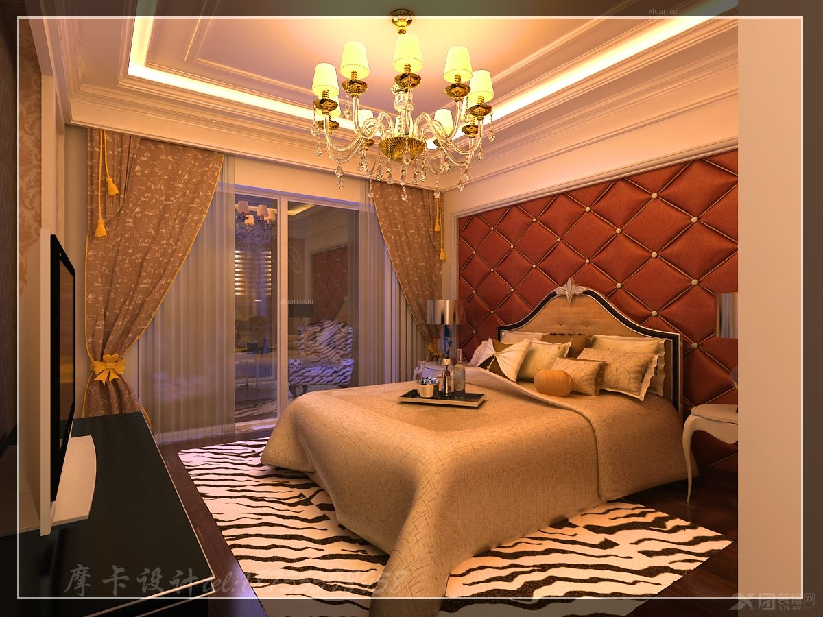 三居室欧式风格主卧室卧室背景墙图片