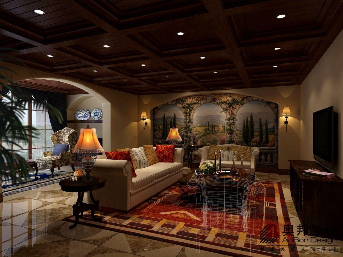 上海海珀晶华别墅美式风格设计装修效果图图片