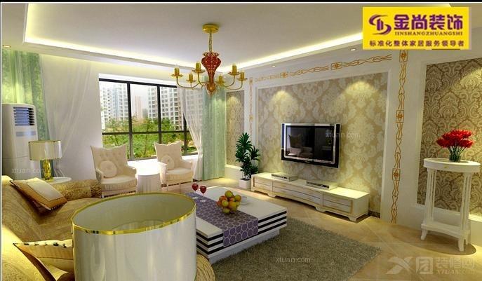 三室两厅现代简约客厅_绿地国际花都115平图装修效果图