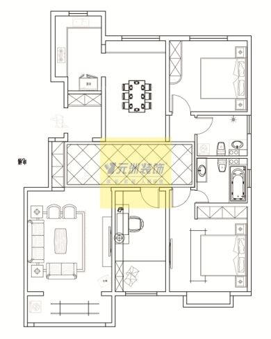 东胜紫御府146.88平米欧式风格研发装修效果案例