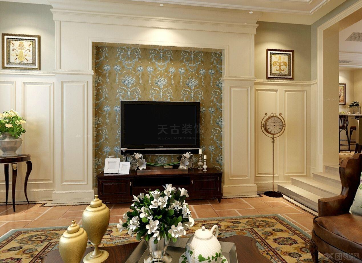 别墅北欧风格客厅电视背景墙图片